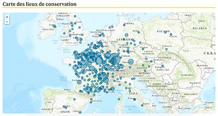 Copie d'écran : carte des lieux de conservation (Biblissima)