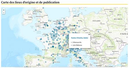 Copie d'écran : carte des lieux d'origine et de publication (Biblissima)