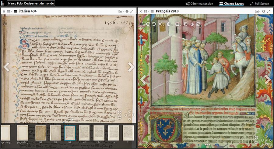 Copie d'écran : espace de travail Mirador Biblissima