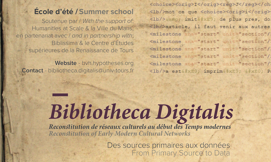 Bibliotheca Digitalis. Reconstitution of Early Modern Cultural Networks: from Primary Source to Data