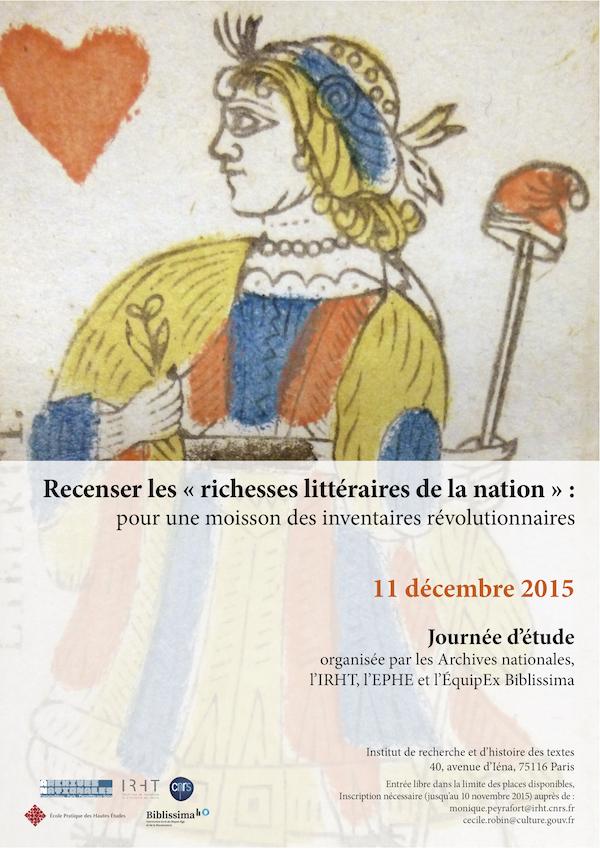 Affiche journée d'études : Recenser les « richesses littéraires de la nation » : pour une moisson des inventaires révolutionnaires