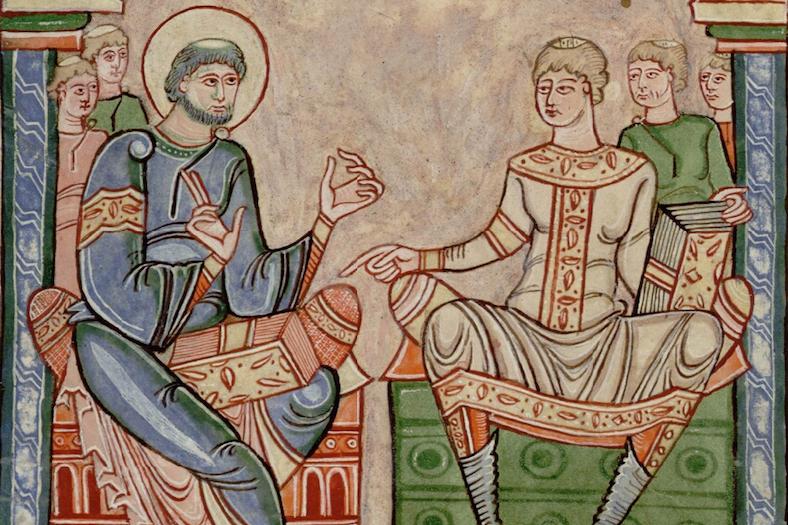 Ouverture du Contra Faustum Manicheum de saint Augustin contenu dans un ancien manuscrit du monastère du Mont Saint-Michel (Avranches BM, 90, f. 1v).