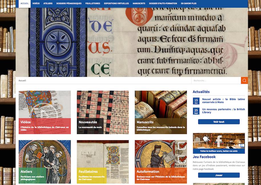 Bibliothèque virtuelle de Clairvaux (1472) : page d'accueil