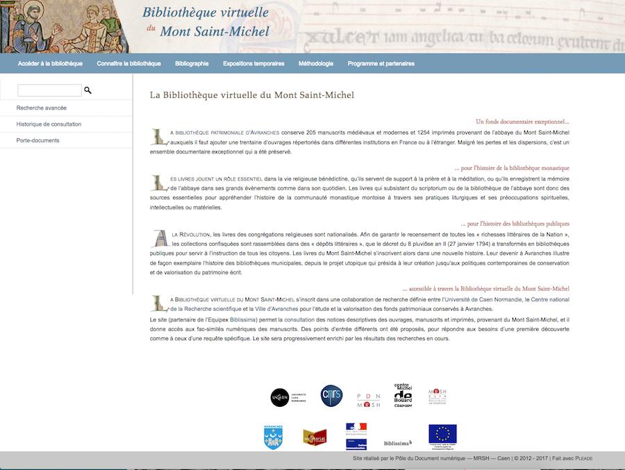 Page d'accueil du site Bibliothèque virtuelle du Mont Saint-Michel