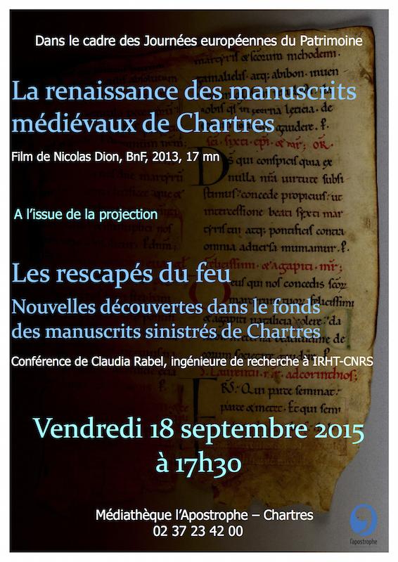 """Affiche : conférence """"Les rescapés du feu : nouvelles découvertes dans le fonds de manuscrits de Chartres"""" (Médiathèque de l'Apostrophe, Chartres : 18/09/2015 à 17h30)"""