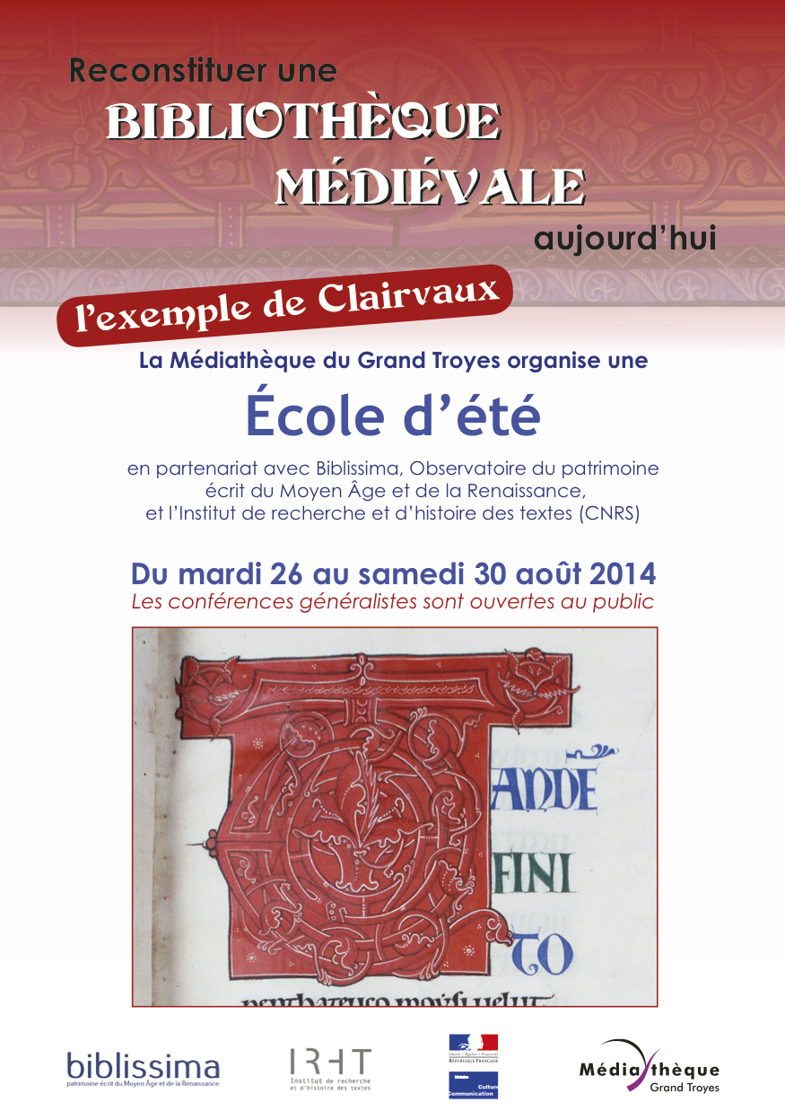 Plaquette : école d'été Biblissima à Troyes