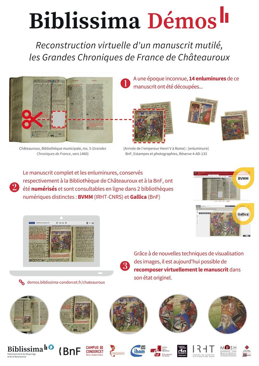 Biblissima Démos : Reconstruction virtuelle d'un manuscrit mutilé, les Grandes Chroniques de France de Châteauroux