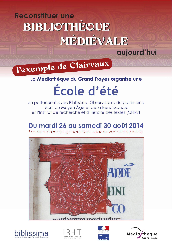 École d'été : Reconstituer une bibliothèque médiévale aujourd'hui, l'exemple de Clairvaux
