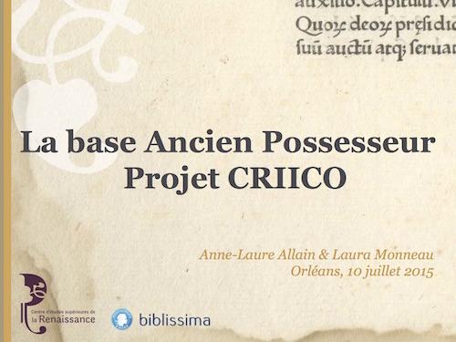 La base Ancien Possesseur, projet CRIICO