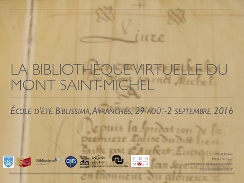 La bibliothèque virtuelle du Mont Saint-Michel