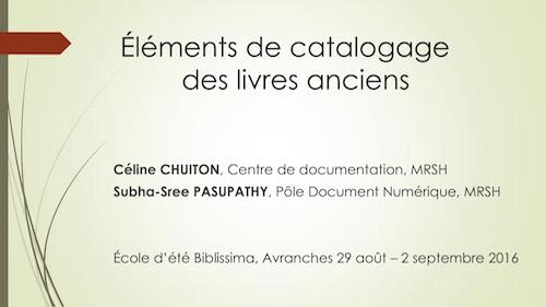 Éléments de catalogage des livres anciens