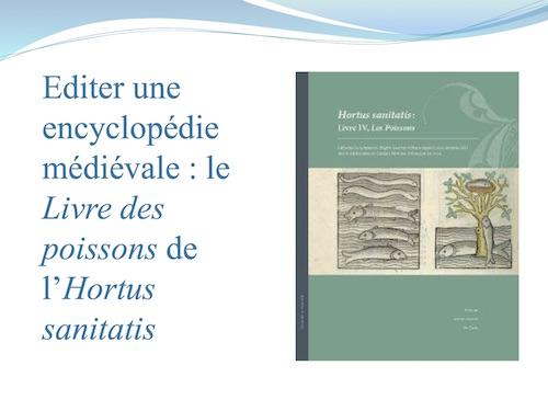 Éditer une encyclopédie médiévale : le Livre des poissons de l'Hortus sanitatis