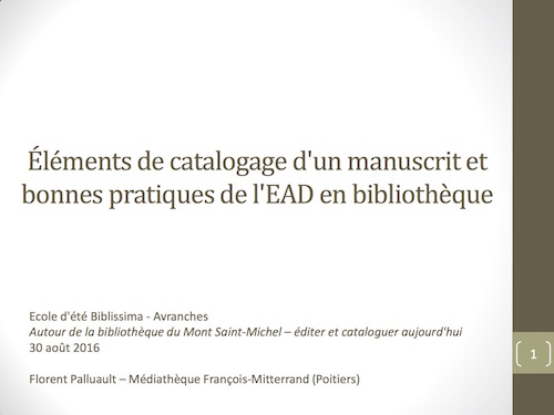 Éléments de catalogage d'un manuscrit et bonnes pratiques de l'EAD en bibliothèque