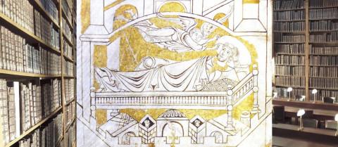 L'archange saint Michel ordonnant pour la troisième fois à l'évêque Aubert la fondation du Mont Saint-Michel (cartulaire de l'abbaye du Mont Saint-Michel : Avranches, BM, ms. 210, f. 4v, Mont Saint-Michel, v. 1150-1154)