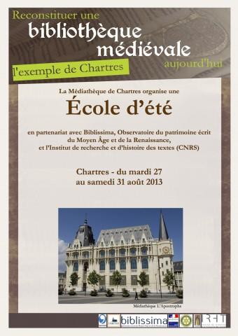 École d'été : « Reconstituer une bibliothèque médiévale aujourd'hui, l'exemple de Chartres »