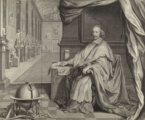 Cardinal Jules Mazarin, Seated within the Gallery of his Palace (Robert Nanteuil, 1659)
