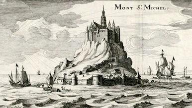 Le Mont Saint-Michel. Dessiné par Johann Peeters ; gravé par Kaspar Merian, 165]. (Bibliothèque de Caen, FNI C 85)