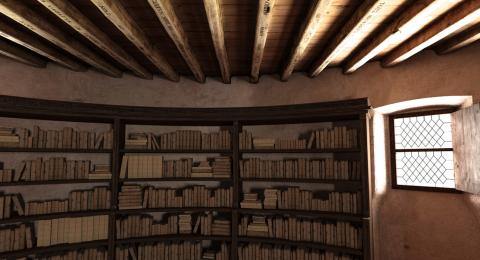 """Image de la restitution 3D de la """"librairie"""" de Montaigne (Site MONLOE, MONtaigne à l'Œuvre)"""