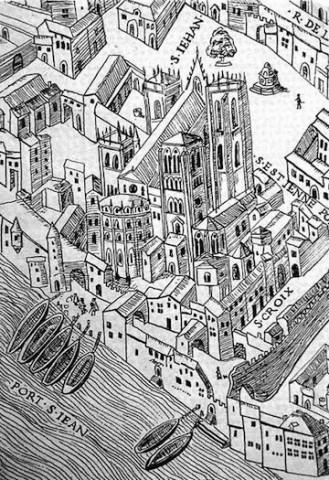 Plan scénographique de la Ville de Lyon au 16e siècle (facsimile, détail) - [s.d. 1550] Bibliothèque municipale de Lyon