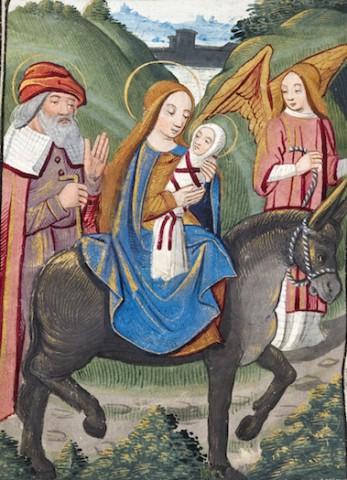 Poitiers, BM, Ms 1097 f. 32v – Heures à l'usage de Poitiers, fin XVe s. – La fuite en Égypte