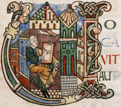 Sées, Archives diocésaines, Ms. 1, f. 35 – Bible, début du XIIe siècle – initiale historiée U